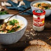 Karotten-Ingwer-Meerrettich-Süppchen mit Austernpilzen