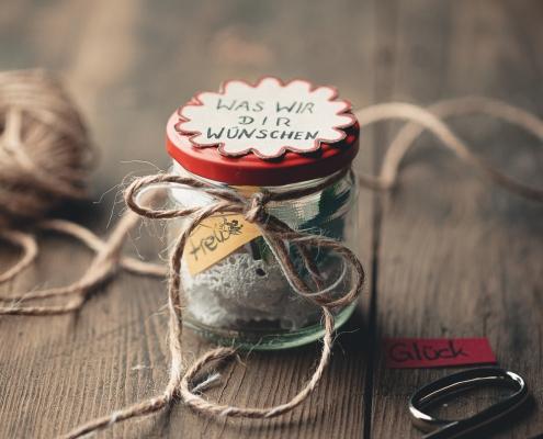 Wünsche im Glas zum Valentinstag